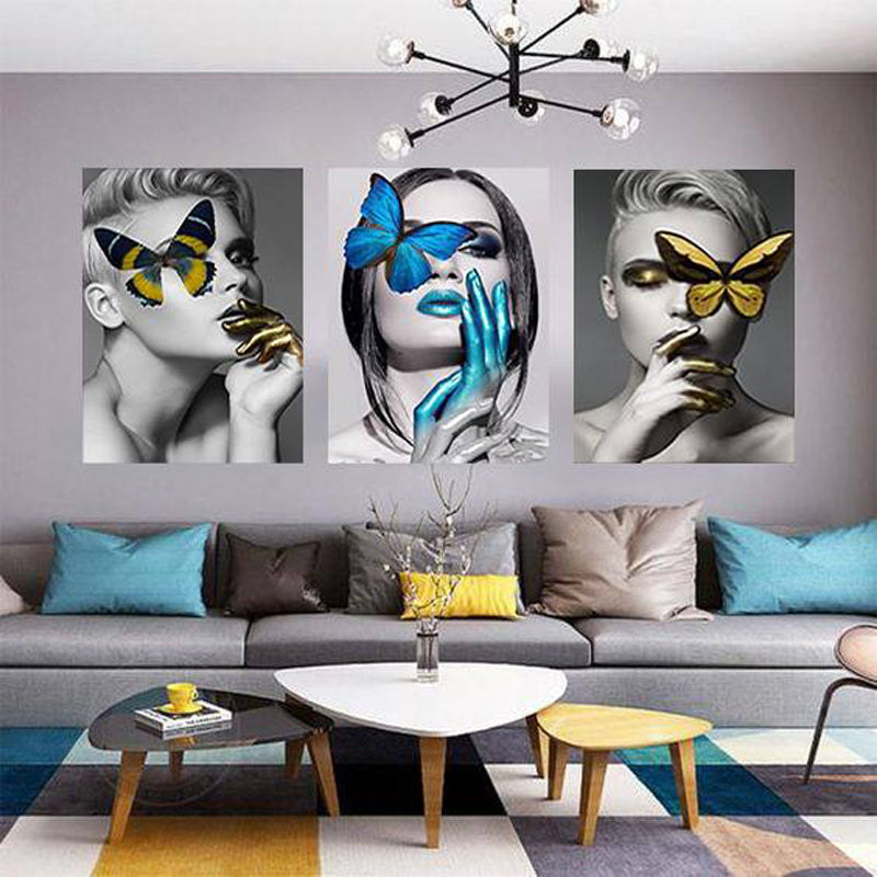Trending Black, White and Gold Women Wall Art Canvas Painting