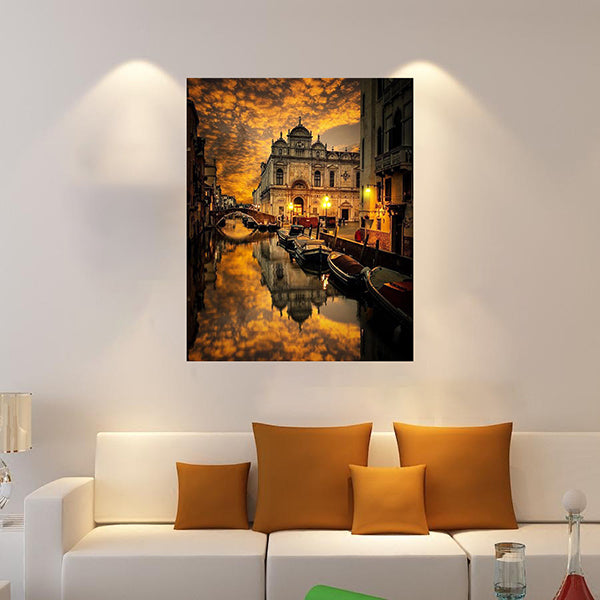Golden Sky in Venice  Canvas Painting