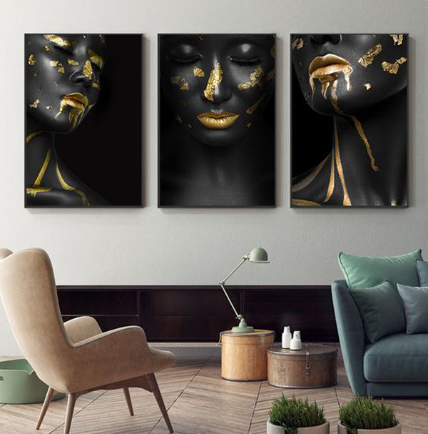 Nude Black Gold African 3 Panel Wall Art Collection 2  Canvas Painting
