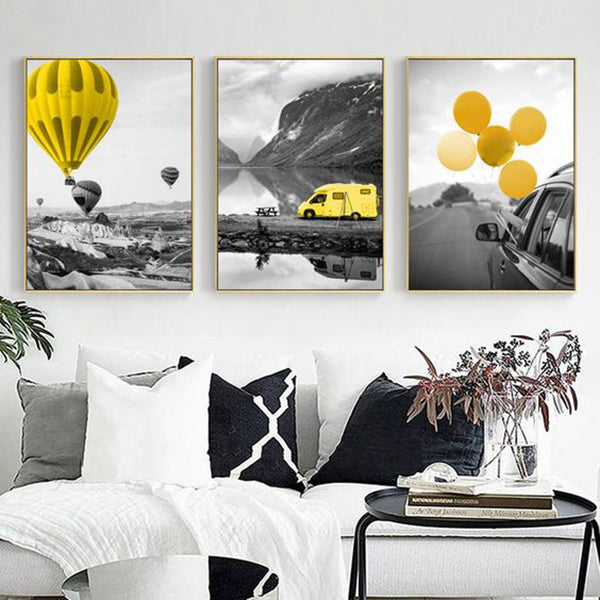 Black and White Landscape Canvas Painting