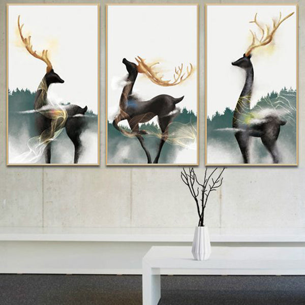 Elegant Black Gold Deer  Canvas Painting