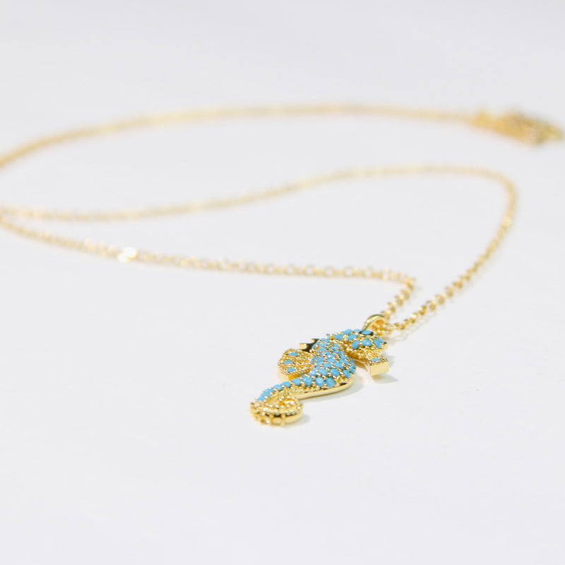 Gold Plated necklace with sea-horse pendant