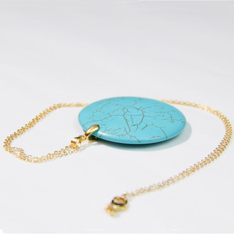 Gold Plated Necklace With Rounded Turquoise Stone Pendant
