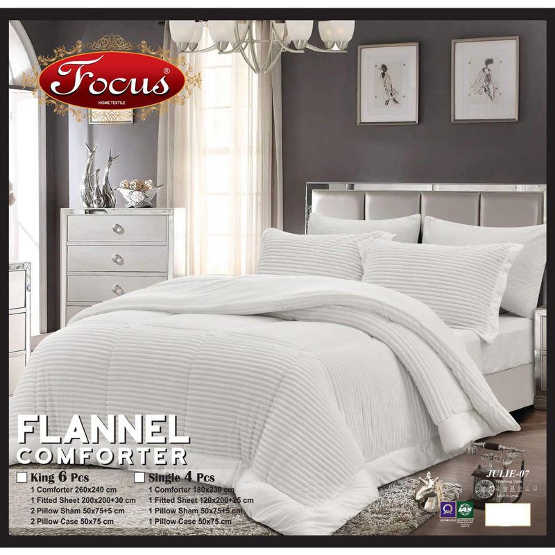 Focus Flannel Comforter Set 6 Pcs King