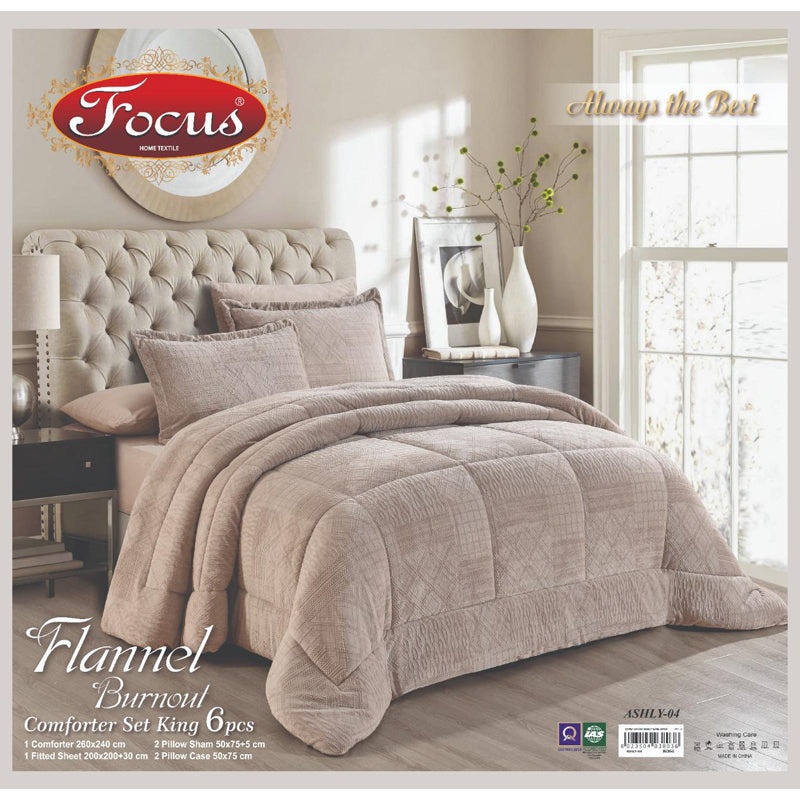 Focus Flannel Burnout Comforter Set 6 Pcs King