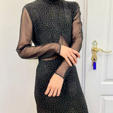 Glitter transparent black dress