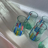 50's Česky hand painted glass cup set 6