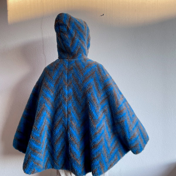 70s-80s France fleece poncho