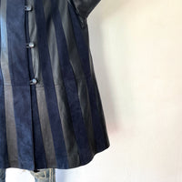Striped spring leather coat