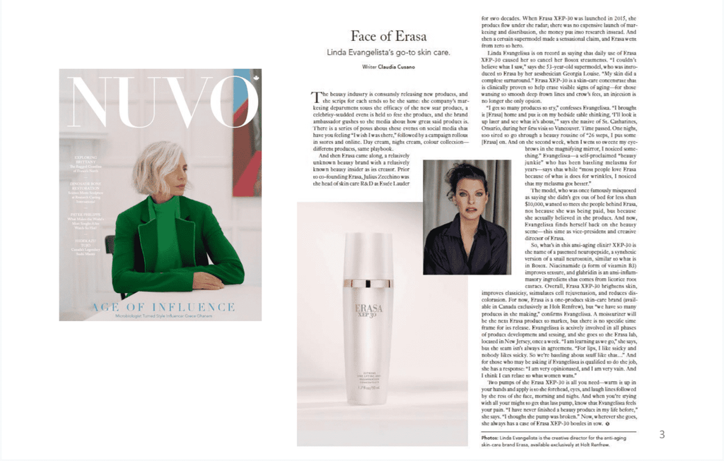 Face of Erasa - Linda Evangelista's go-to skin care.
