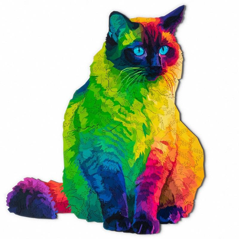 Rainbow Wooden Jigsaw Puzzle - PURfect Cat