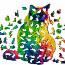 Load image into Gallery viewer, Rainbow Wooden Jigsaw Puzzle - PURfect Cat