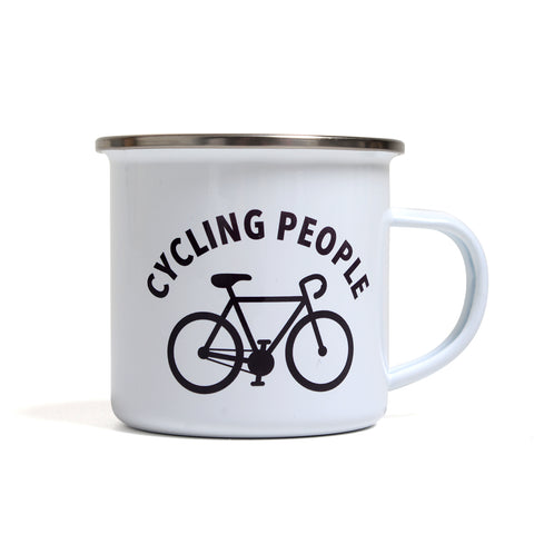 CYCLING PEOPLE ENAMEL MUG