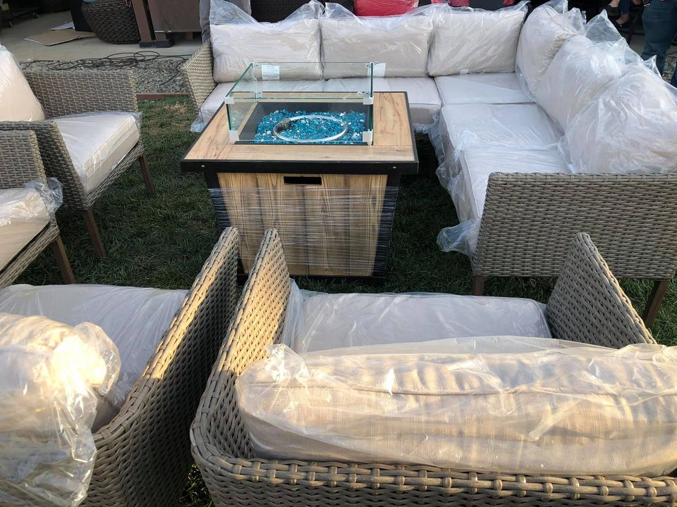 Patio Sectional And 4 Wicker Patio Chairs Wih Fire Pit Discounted Price Riverside Patio Plus Llc