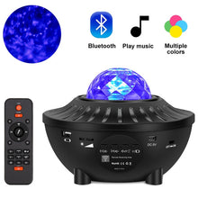 Load image into Gallery viewer, LED Galaxy Projector Ocean Wave LED Night Light Music Player Remote Star Rotating Night Light Luminaria For kid Bedroom Lamp