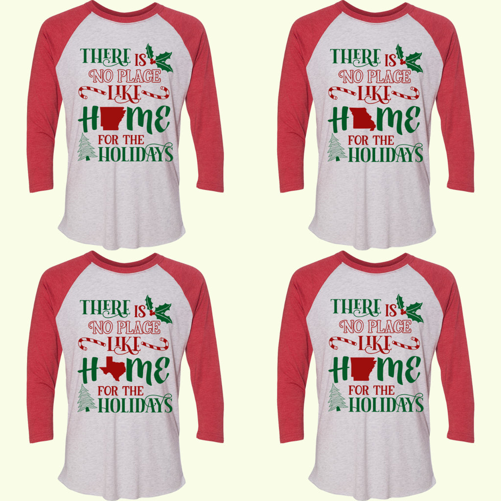 Home For The Holidays State Raglan Tee - Bless UR Heart Boutique