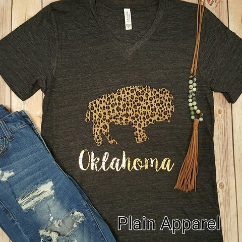 Leopard Buffalo Short Sleeve V-Neck