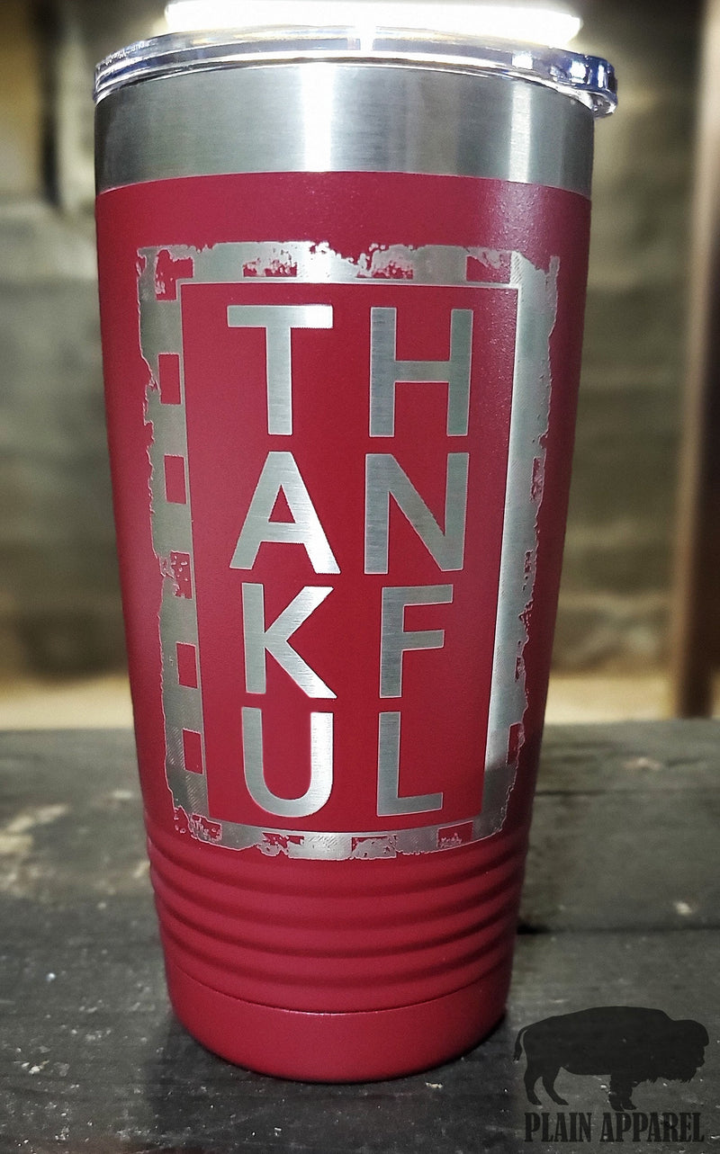 Thankful Engraved Tumbler - Bless UR Heart Boutique