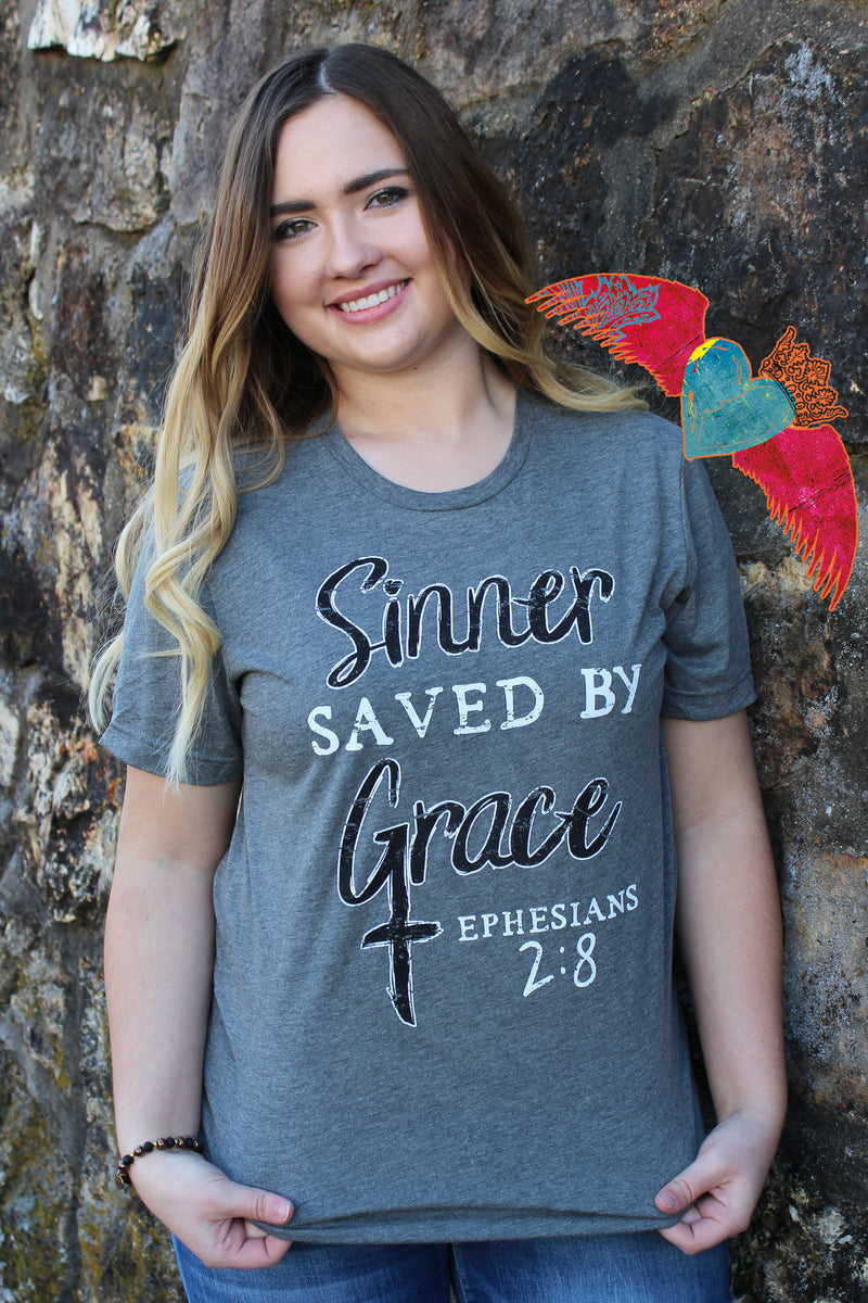 Sinner Saved By Grace Crew Neck Tee - Bless UR Heart Boutique