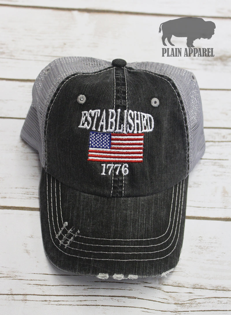 Established 1776 Ball Cap - Bless UR Heart Boutique