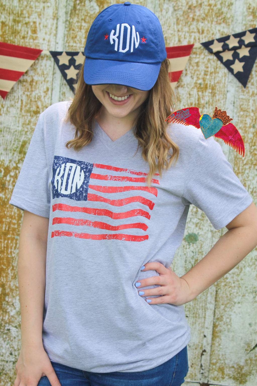 Monogram Flag Tee - Bless UR Heart Boutique