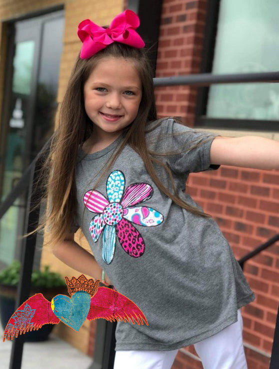 Bright Pattern Flower Kid Tee - Bless UR Heart Boutique