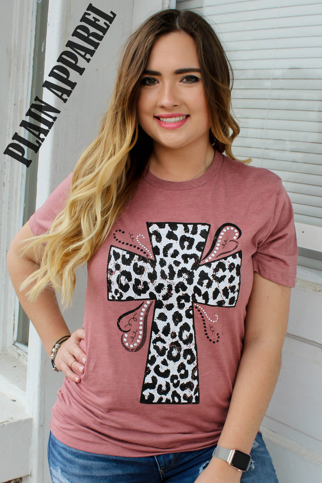 Leopard Cross Mauve Tee - Bless UR Heart Boutique