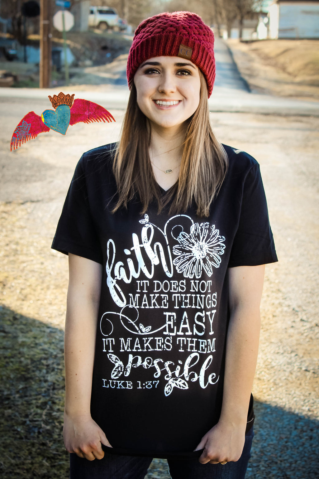 Faith Luke 1:37 V-Neck Tee - Bless UR Heart Boutique
