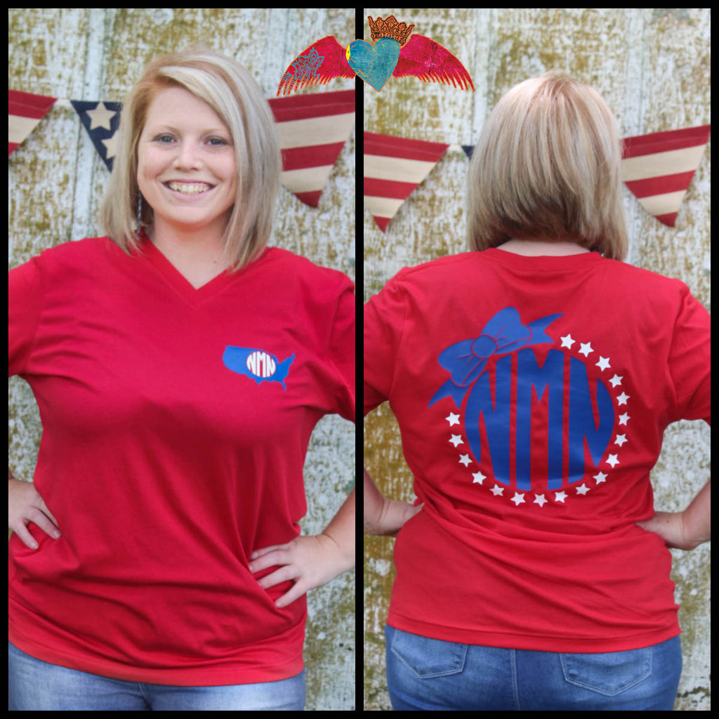 Adult Patriotic Bow Monogram Tee - Bless UR Heart Boutique