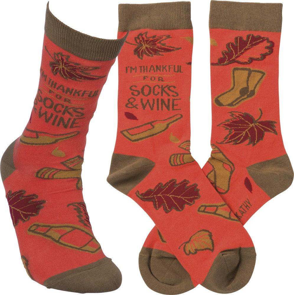 Thankful for Socks and Wine Socks SO13 - Bless UR Heart Boutique
