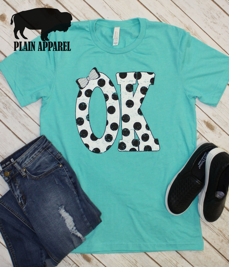 OK Polka Dot Abbreviation Crew Neck Tee