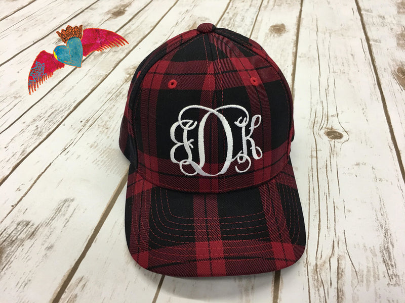 Buffalo Plaid Monogram Cap - Bless UR Heart Boutique