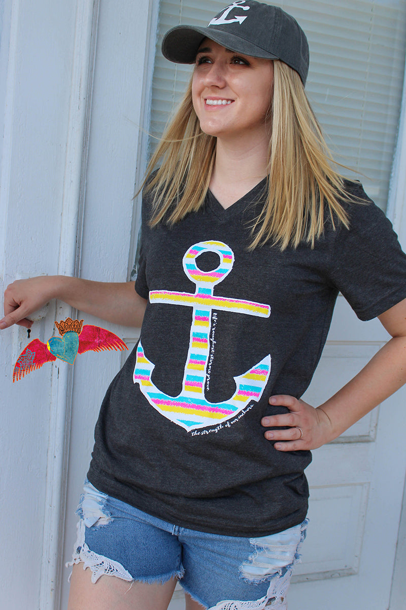 Bright Anchor V-Neck Tee - Bless UR Heart Boutique