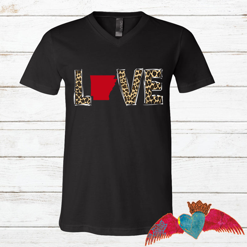 State LOVE Leopard Black V-Neck Tee - Bless UR Heart Boutique