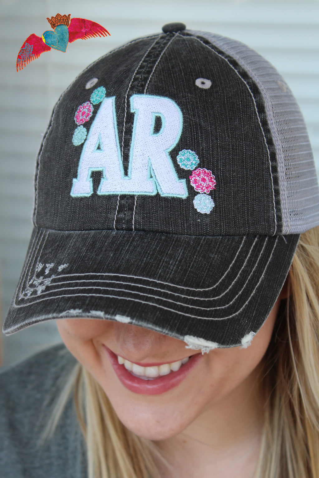 AR Floral Ball Cap (Arkansas) - Bless UR Heart Boutique