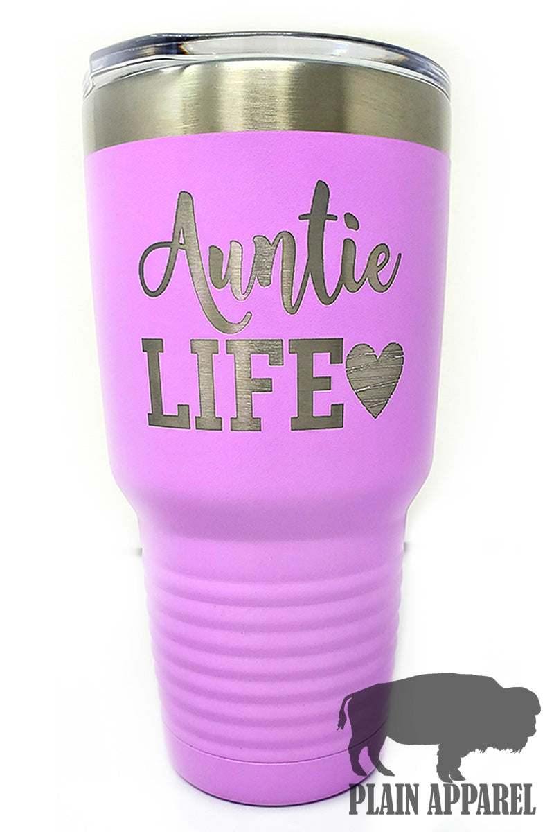 Auntie Life (with the Heart) Engraved Tumbler - Bless UR Heart Boutique