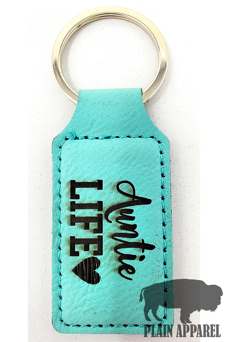 Auntie Life ( Heart ) Engraved Keychain - Bless UR Heart Boutique