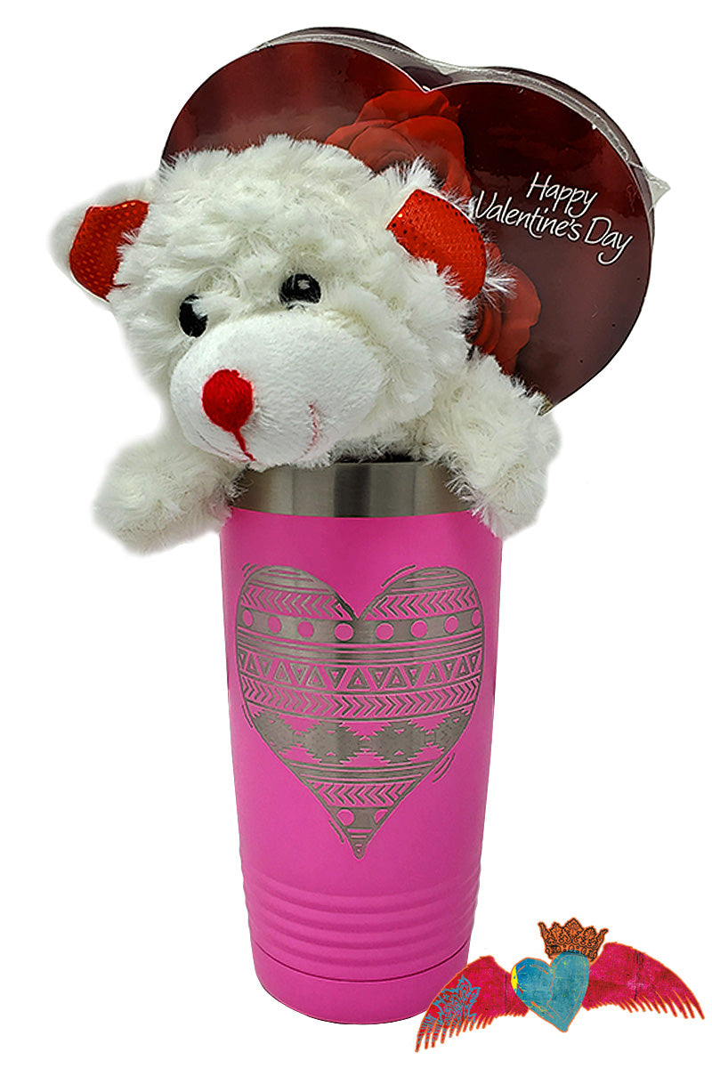Pink Aztec Heart Valentine Bouquet - Bless UR Heart Boutique