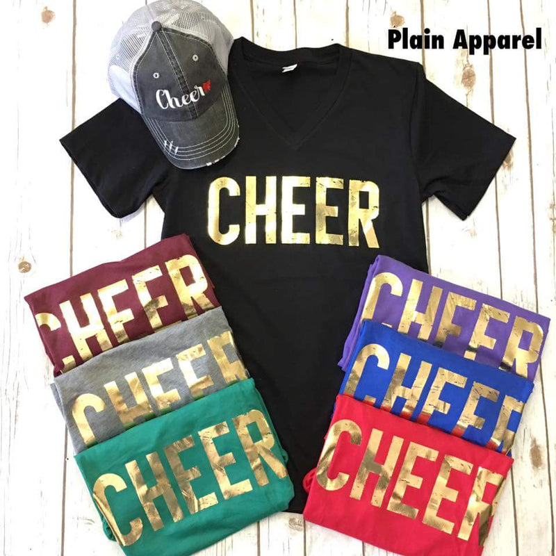 CHEER GOLD V-neck - Bless UR Heart Boutique