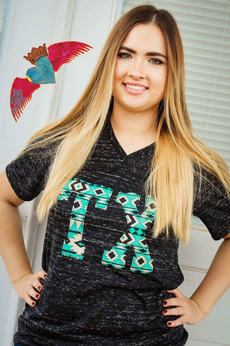Turquoise & Cream Aztec State Abbreviation Tee - Bless UR Heart Boutique
