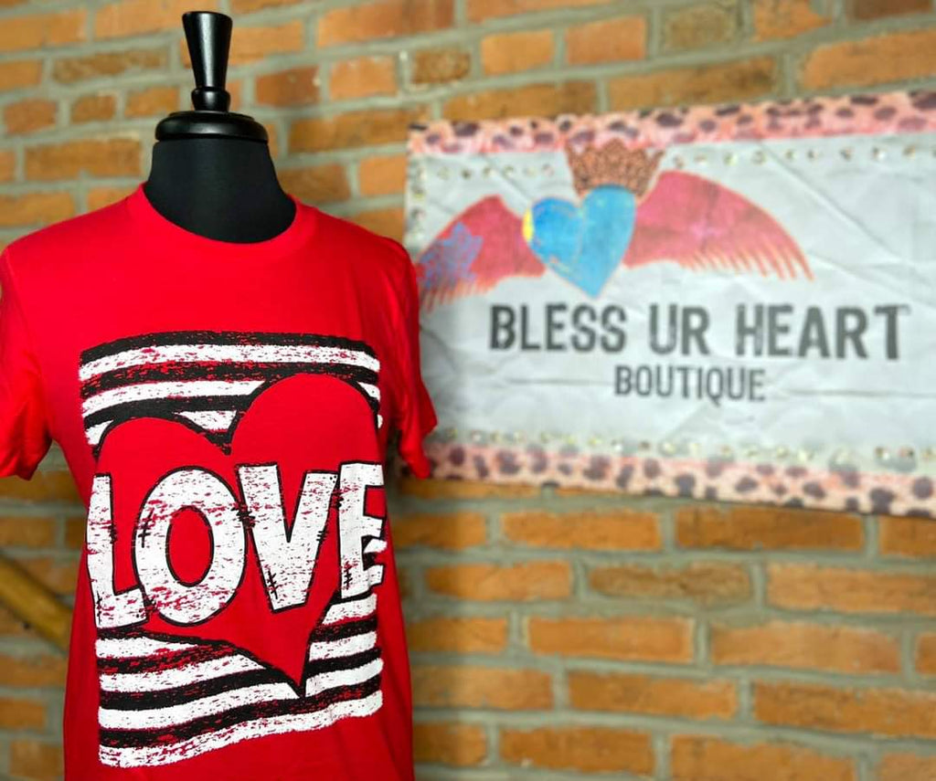 Love Heart & Stripes Tee - Bless UR Heart Boutique