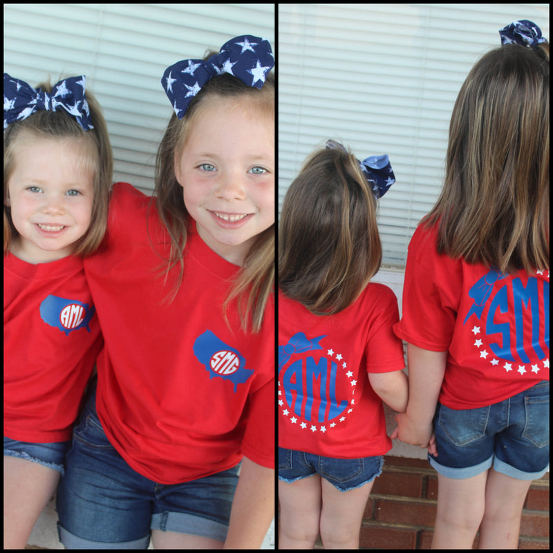 Patriotic Bow KIDS Monogram Tee - Bless UR Heart Boutique