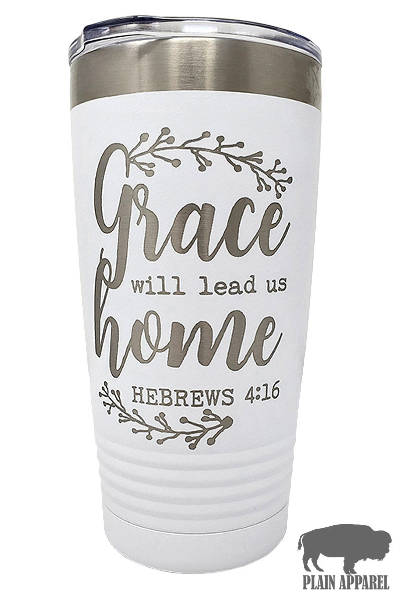 Grace Will Lead Us Home Engraved Tumbler - Bless UR Heart Boutique