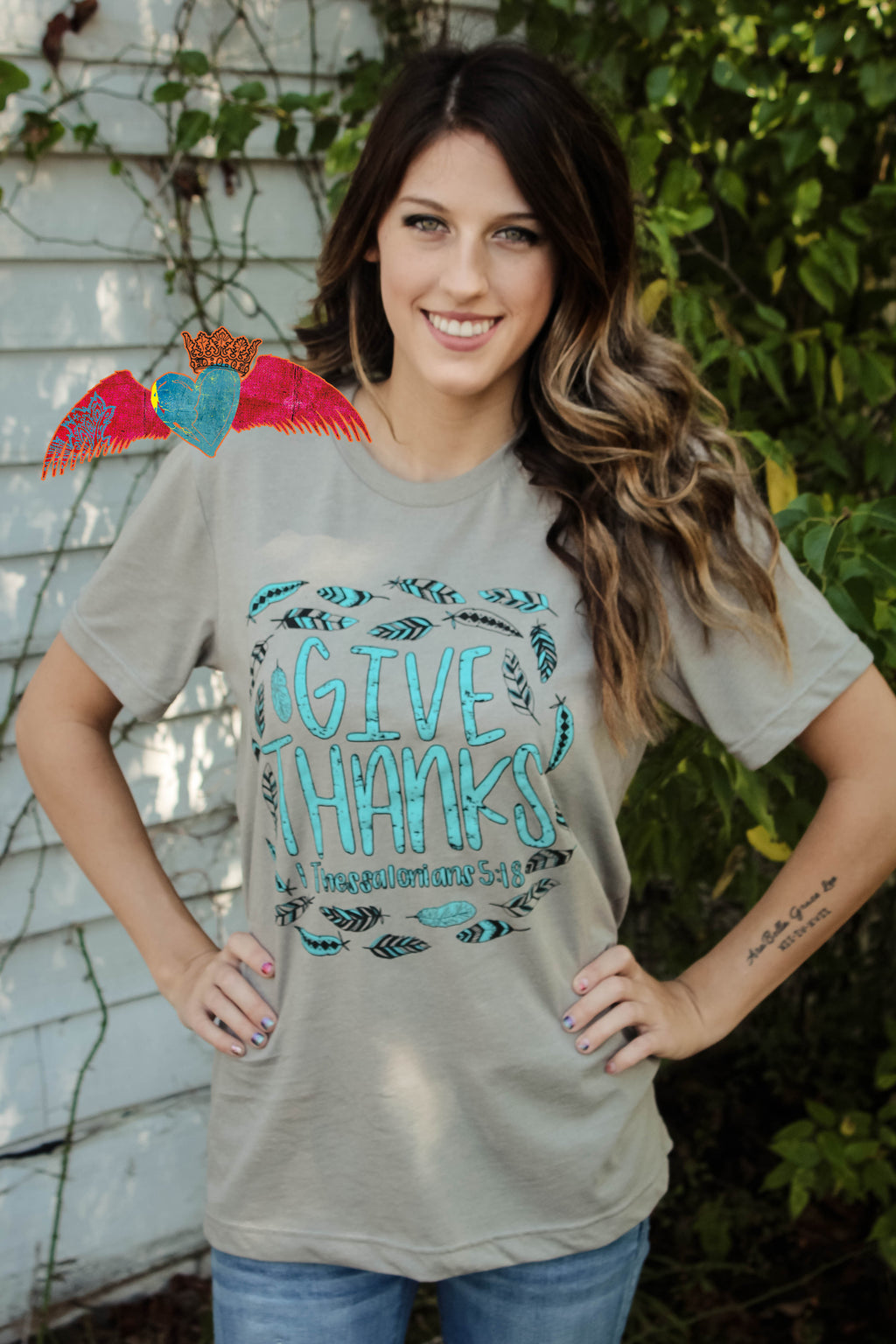 Give Thanks Feather Crew Tee - Bless UR Heart Boutique