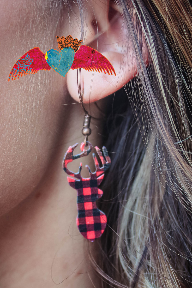 Buffalo Plaid Deer Head Dangle Earrings 167