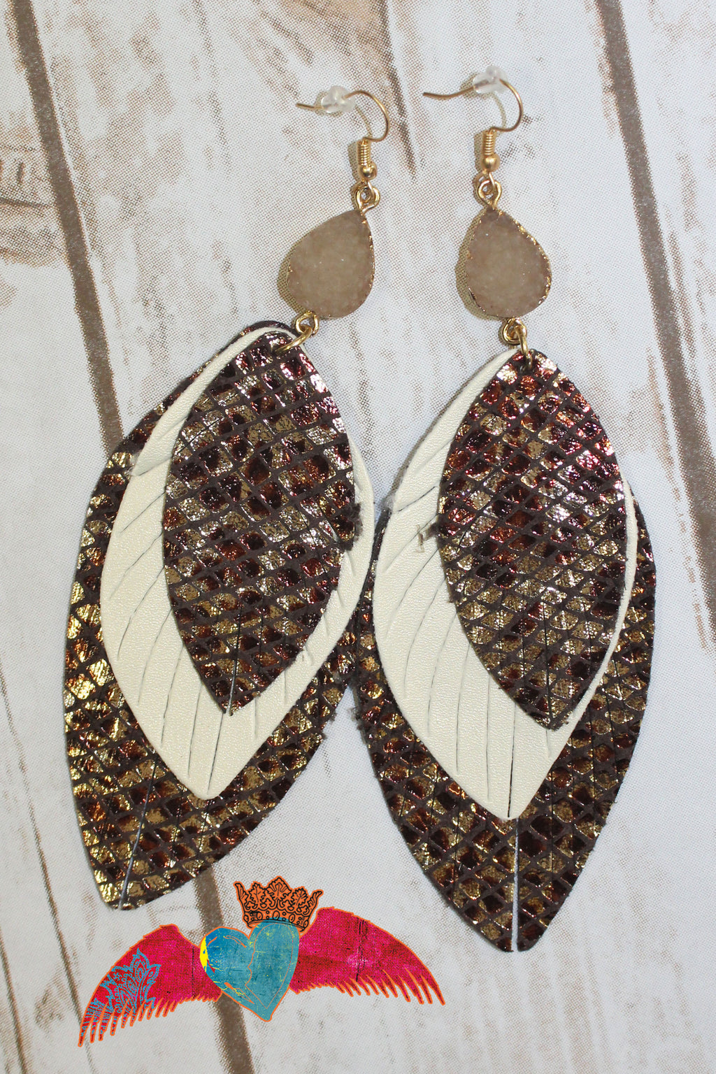 Layered Leaf Leopard & Cream Earrings 166