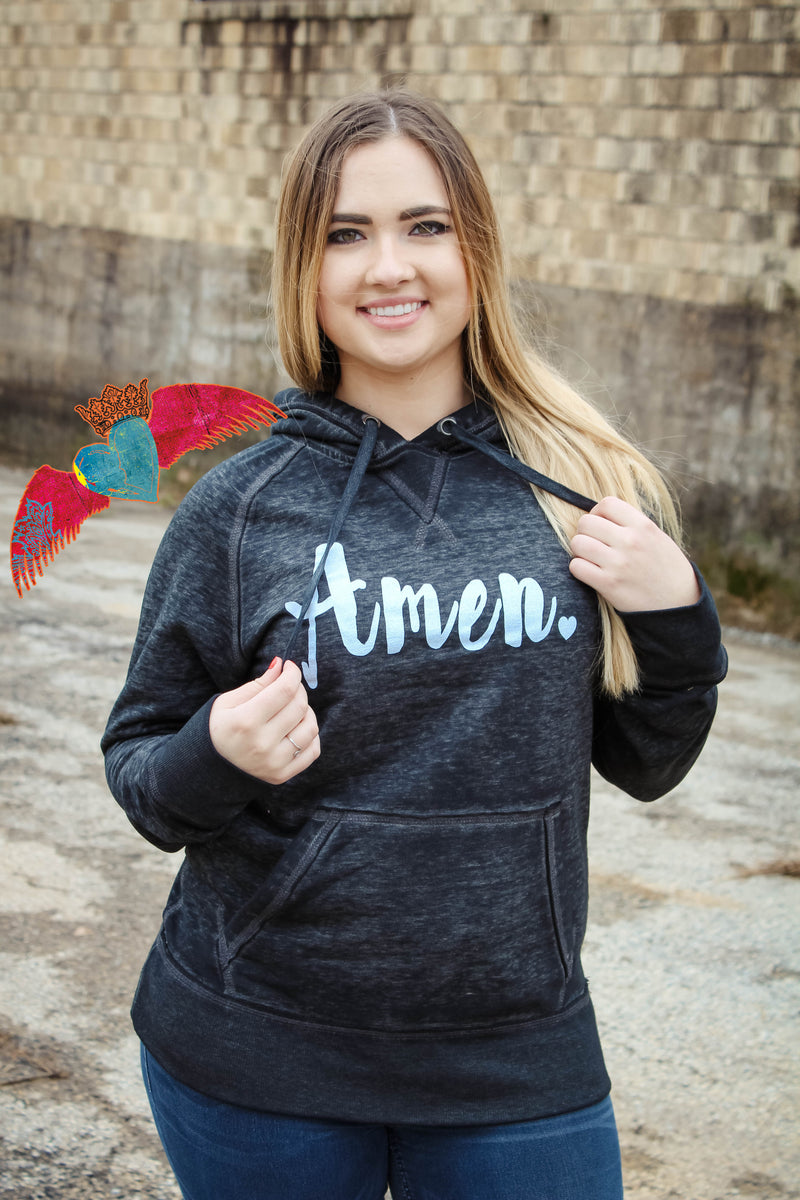 Amen Black Vintage Hoodie - Bless UR Heart Boutique
