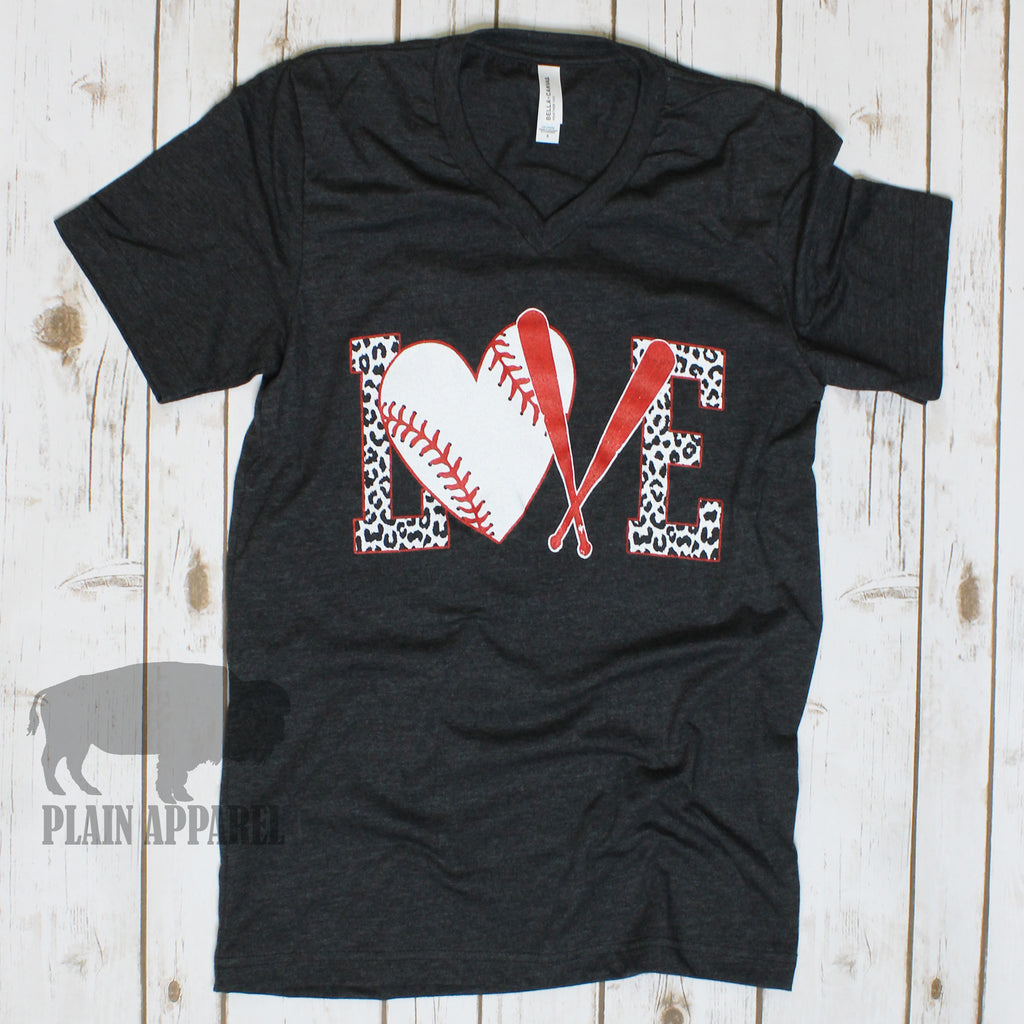 Baseball LOVE Dark Heather Gray V-Neck Tee - Bless UR Heart Boutique