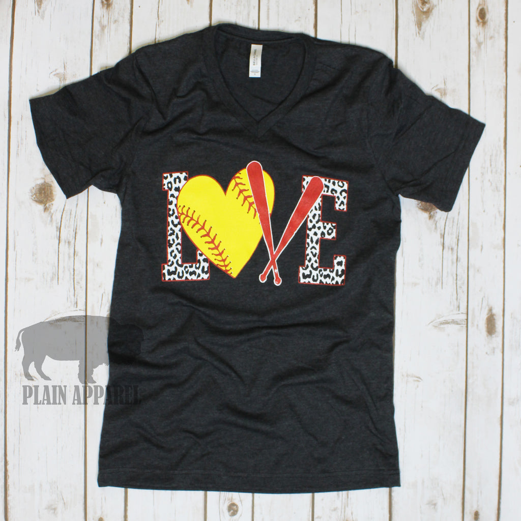Softball LOVE Dark Heather Gray V-Neck Tee - Bless UR Heart Boutique