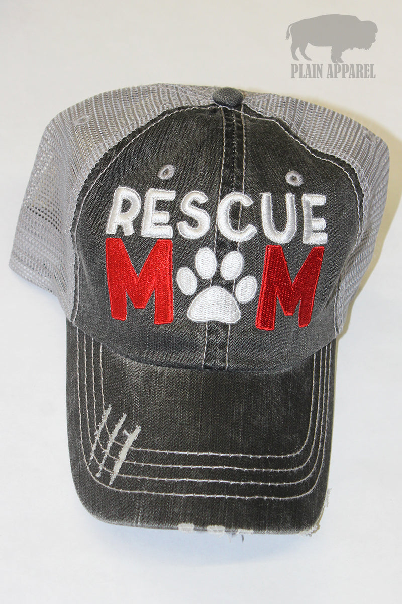 Rescue Mom Ball Cap - Bless UR Heart Boutique